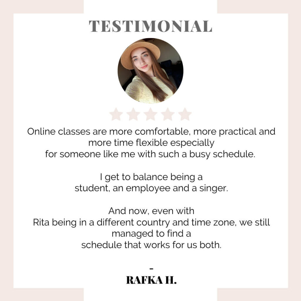 testimonial student review for online singing lessons