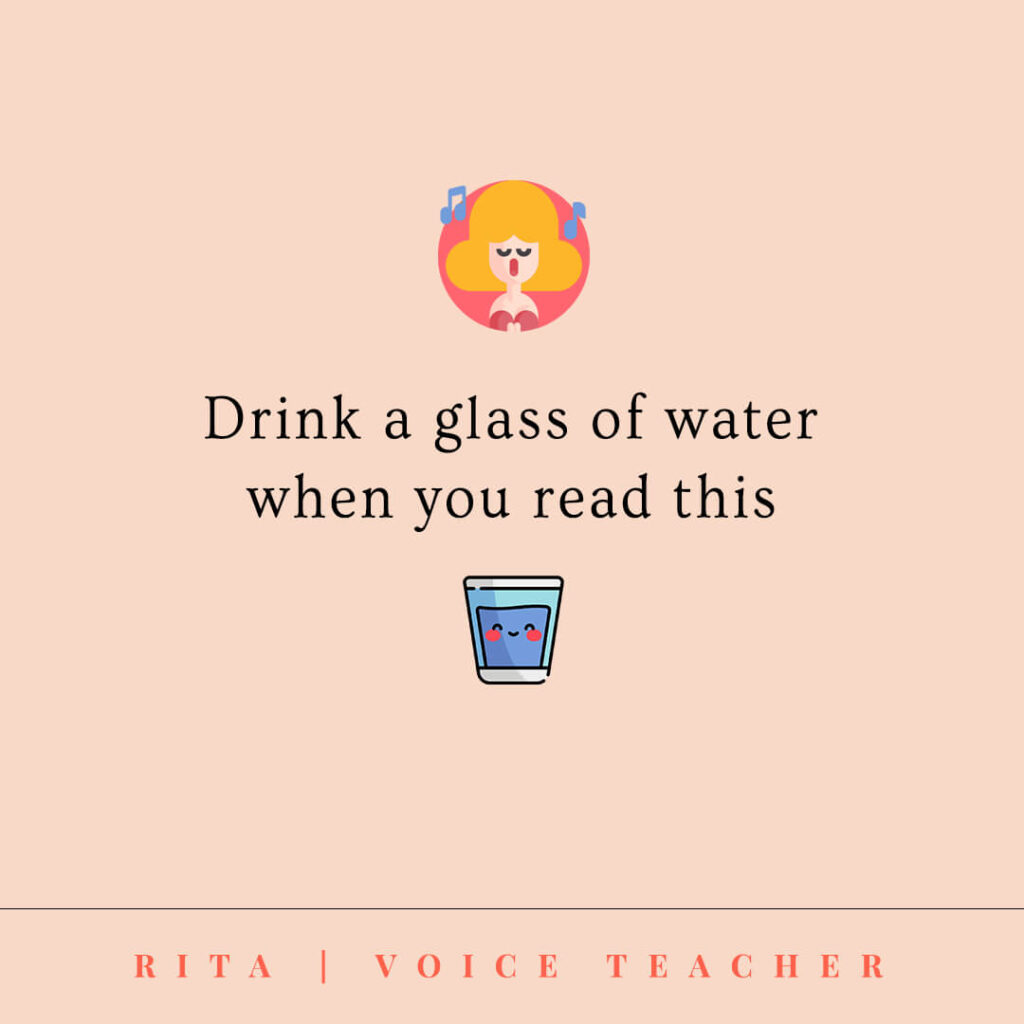 stay hydrated and drink a glass of water with an image of water glass and opera singer
