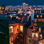 Illustration by Pierpaolo Rovero Paris Plays Jazz highlighting people dancing on the roof
