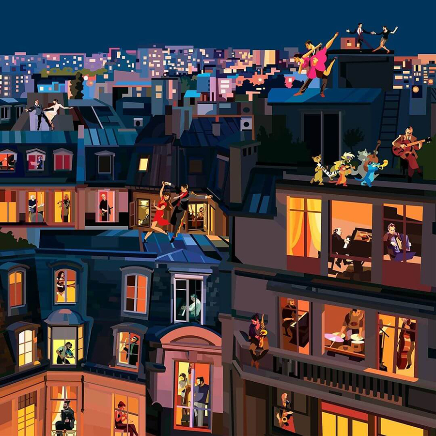 Illustration by Pierpaolo Rovero Paris Plays Jazz highlighting people dancing on the roof and musicians playing
