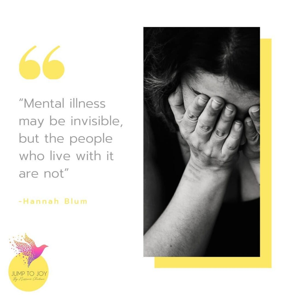 Hannah Blum mental health quote with a girl in black and white bowing while covering her eyes
