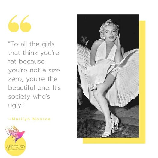 Marilyn Monroe with her flying white dress talking about size zero society perception