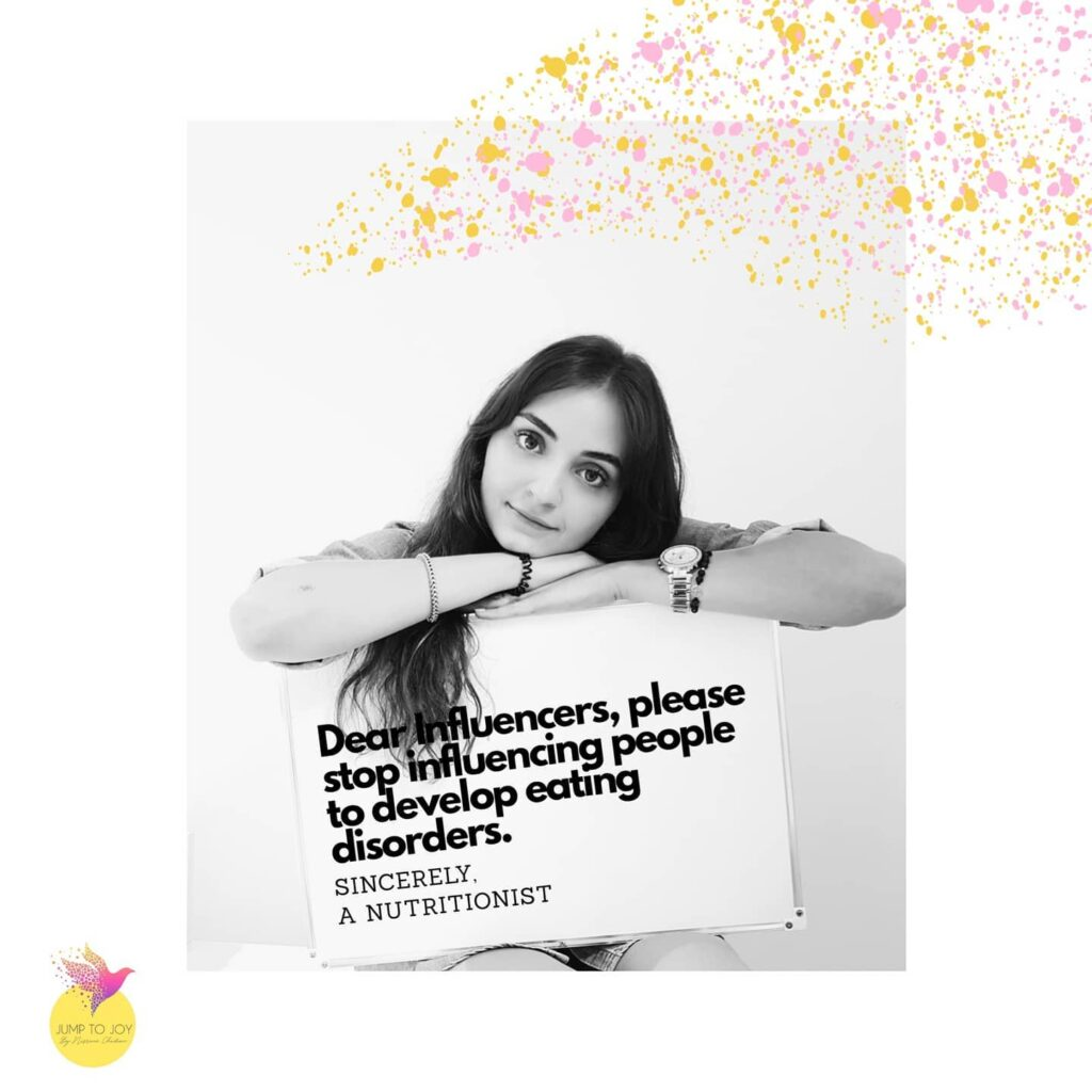 Black and white portrait of Nisrine Chidiac nutritionist life coach with a text blaming influencers